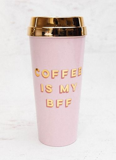 Thermal Mug - Coffee Is My Bff - Pink/Gold