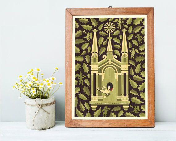 Church Art Print A3 Spiritual Housewarming Gift Christmas