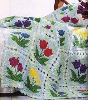 Tina's handicraft : crochet blanket with flowers  tulips