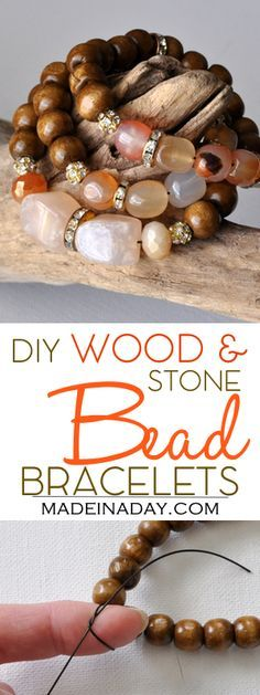 DIY Wood & Stone Stackable Beaded Bracelets, learn to make these popular mala prayer bead style bracelets. Anthro Hack, gold and glass beads, wood beads and stone beads. Tying a stretchy bracelet.