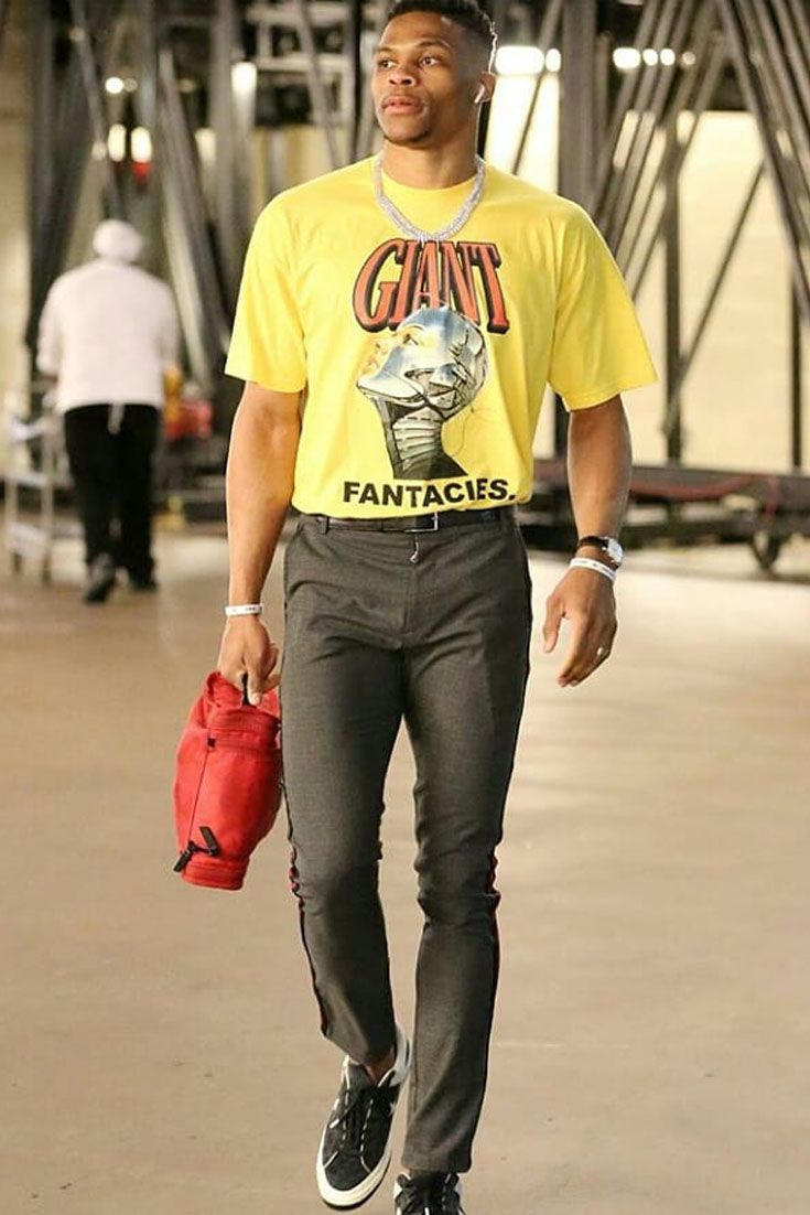 f459872df4d1 Russell Westbrook walks out in Christos pants and Converse sneakers ...
