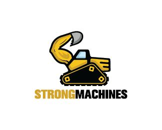 Strong Machines Logo design - Logo design of a digger with the main digging arm shaped like a human arm.  Price $299.00
