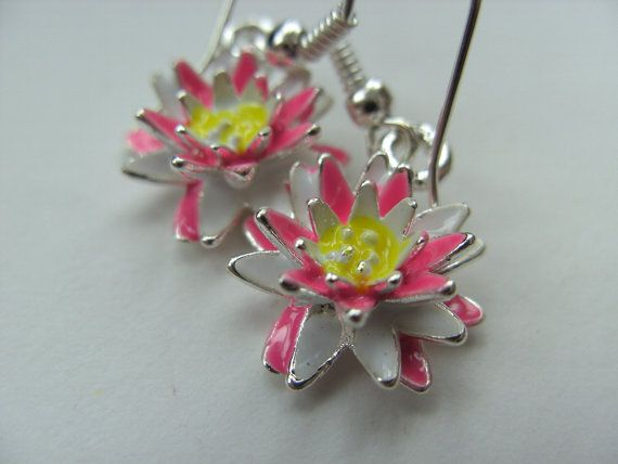 Pink and white water lily lily earrings Summer 3d by NewellsJewels, £4.00