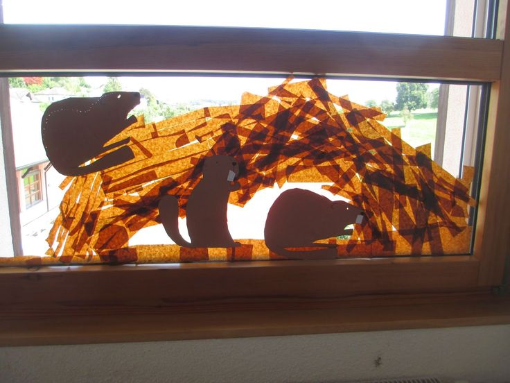 Fensterdeko Biber