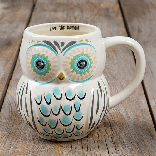 Whoooo doesn't love our owl mugs?? We sure do, so we made some in adorable folk art designs! Generous 16-ounce ceramic mugs in fun owl shapes, with brightly colored faces and feathers. Positive sentim