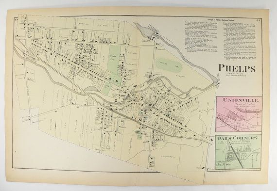 Antique Phelps NY Map 1874 Village Map Phelps New York, Street Map, Genealogy Research, Oaks Corners NY Map, New Home Gift for Couple available from OldMapsandPrints.Etsy.com #PhelpsNewYork #AntiqueMapofPhelpsNY #1874OntarioCountyNYMapofPhelps