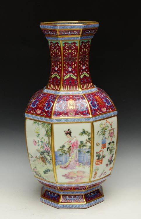 A Top Grade Chinese Qing Dynasty Eight Sided Famille Rose Porcelain Vase with Qianlong Mark, Size: H*D 34*18cm,