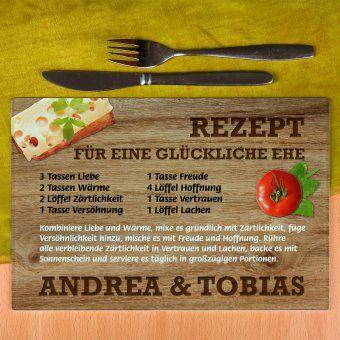 Personalisierbares Glasbrettchen Rezept glückliche Ehe | design3000.de