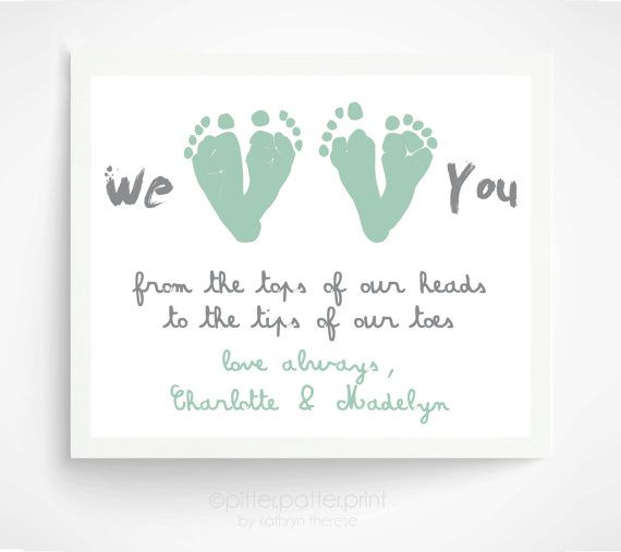 Mother's Day Gift from Twins, Children - Mint Personalized Gift for Grandma - We Love You Baby Footprint Art - Gift for New Mom, Grandmother
