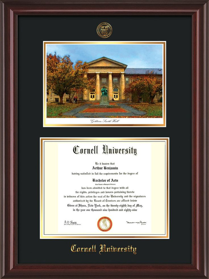 Cornell U Diploma Frame-Mahog Lacquer-Goldwin Photo-Black on Gold mat – Professional Framing Company