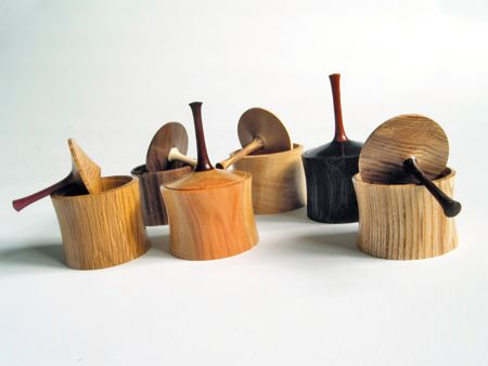 Turned wooden boxes with spinning top lids, COOL!