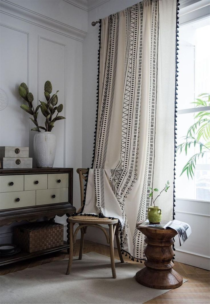 Geometric Tassel Curtains For Living Room For Bedroom For Etsy Curtains Living Room Living Room Blinds Curtains Living