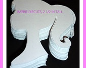 90  Barbie Silhouette Party Die Cuts Cupcake Toppers 2.5 inch Pink White Hot Pink. $15.00, via Etsy.
