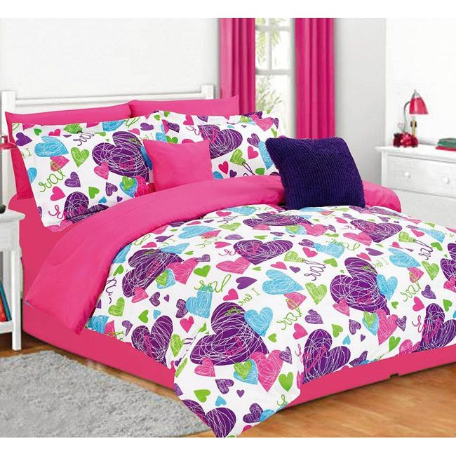 Brighten Up Your Child S Bedroom With This Colorful Comforter Set The Misty Five Piece Bedding Abstract Purple Pink And B Allie Room In