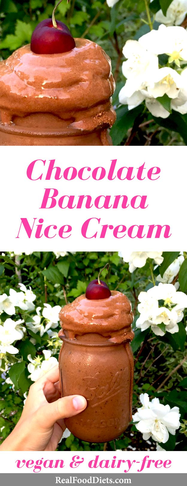 Beat the heat this summer with chocolate banana nice cream — a dairy-free vegan ice cream that's naturally sweetened. A healthy dessert made with sticky dates, raw cacao, and bananas from @raw_alignment. Learn how to make nice cream on @realfooddiets. Click for the recipe instructions. ♥