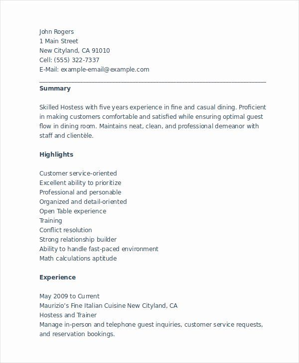 Hostess Job Description For Resume Best Of 6 Hostess Resume Templates Pdf Doc Resume Examples Resume Skills Free Word Document