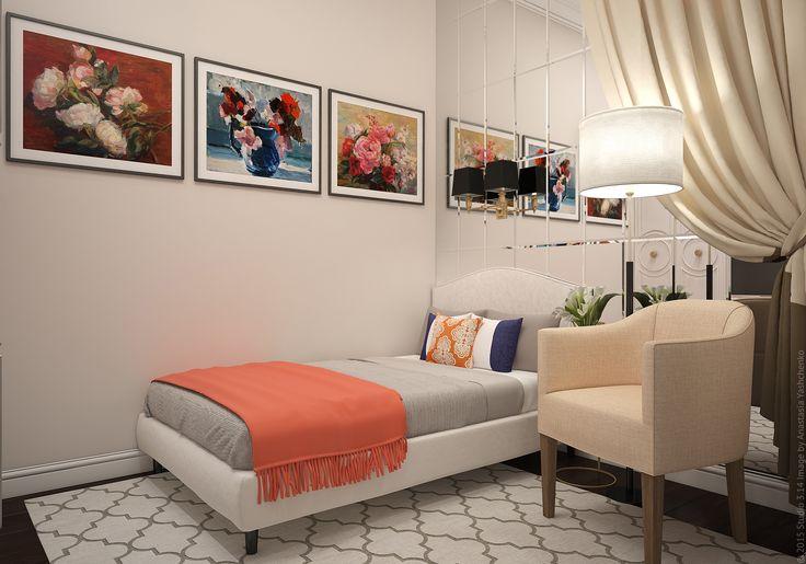 Оформление спальни в трехкомнатной квартире в районе ст. м. Бабушкинская.