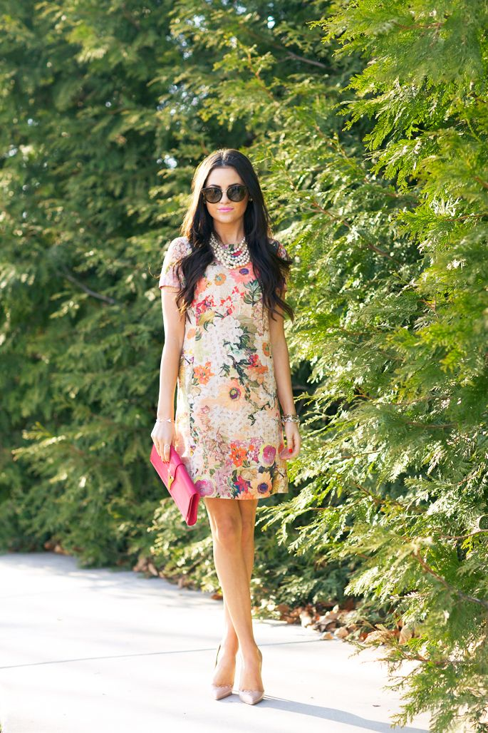 Bold blooms: Rachel Parcell from Pink Peonies in Tory's Kaley dress