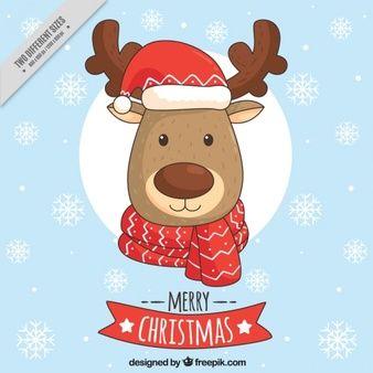 Antecedentes da encantadora rena com chapéu do Natal e um lenço