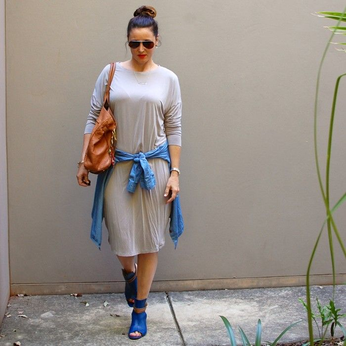 Daily Style: A simple grey tee shirt dress, chambray shirt and blue leather boots