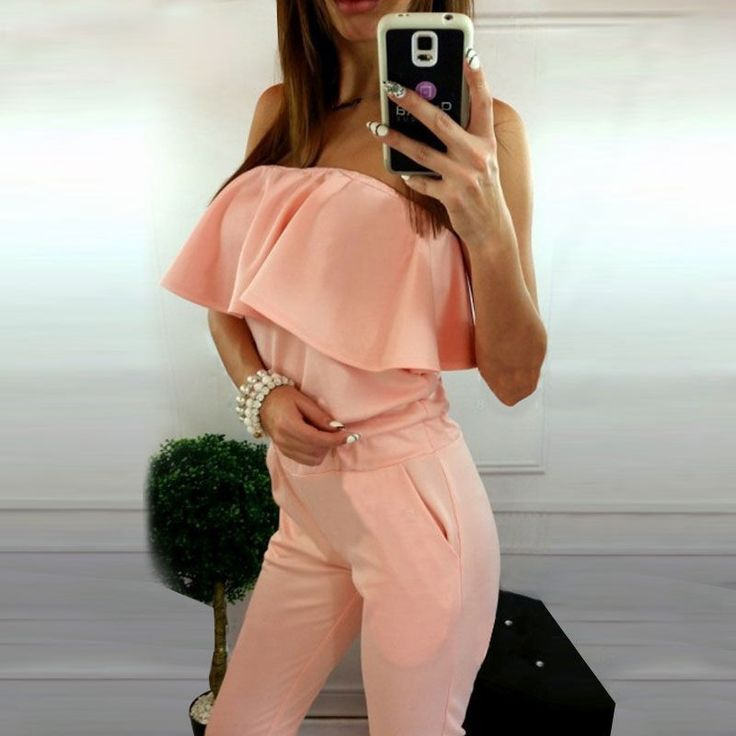 Women Jumpsuit Pink Ruffle Slash Neck Off Shoulder Strapless Rompers Casual Silm Bodycon Sexy Women Jumpsuits