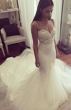 Mermaid Prom Dresses,Mermaid Wedding Dress,Beach Wedding Dresses,Spaghetti Straps Sweetheart Prom Dress,Tulle Prom Dress,Fashion Bridal Dress,Sexy Lace Top Party Dress,wedding dress