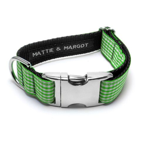 Mattie & Margot Apple Green Gingham Dog Collar From $31.95