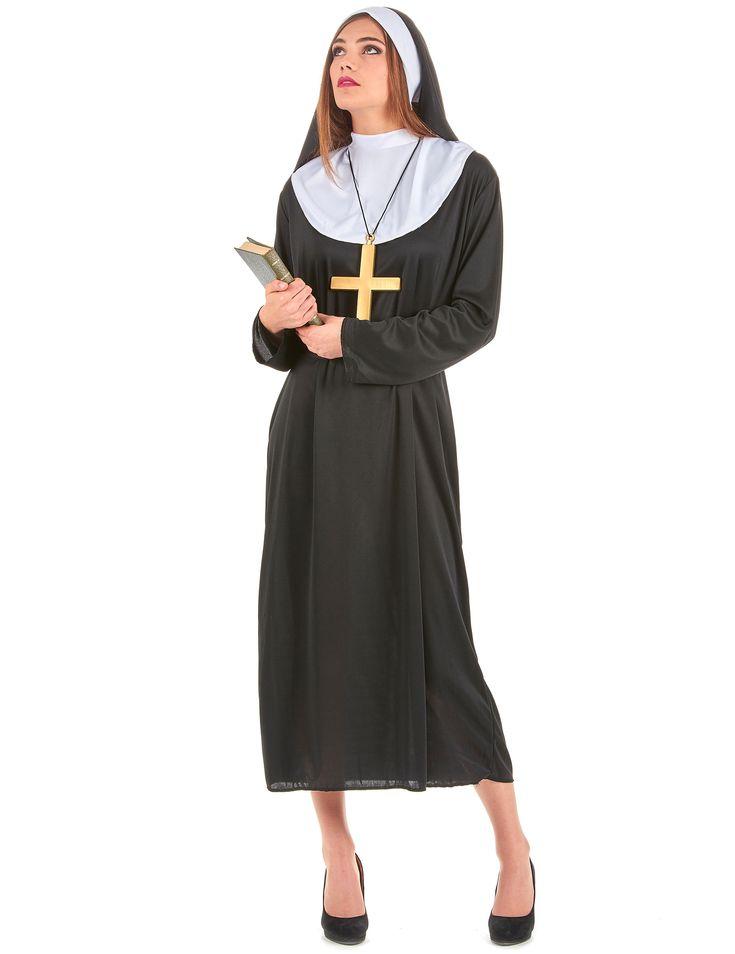 Nonnen-Kostüm für Damen: Dieses Nonnen-Kostüm für Damenbesteht aus einer schwarzen Robe mit weißem Kragen, einem Gürtel und einer Haube für ein täuschend echtes Aussehen.Die Robe ist von...