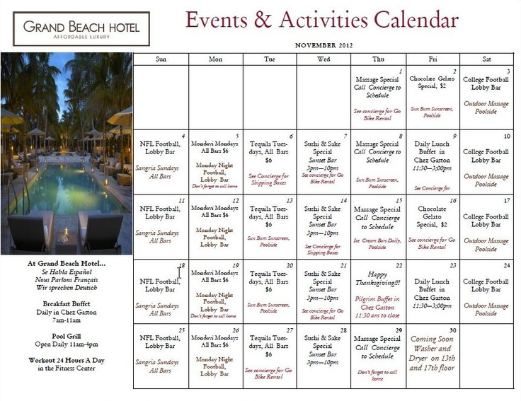 Plan for your #November #stay at Grand Beach Hotel with our - event calendar