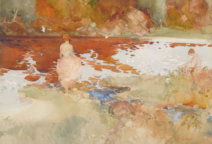 """""""The Black Tarn"""" Signed, inscribed on an exhibition label verso, pencil and watercolour"""