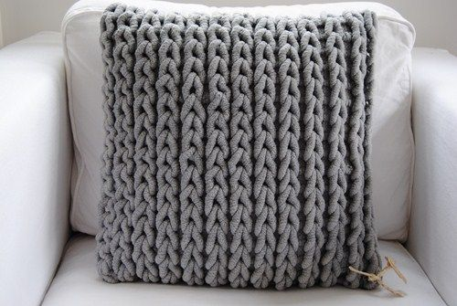 chunky knit. Easy to do as crochet just work in rows using back loops only. Inspiration for cushion cover I want to do.