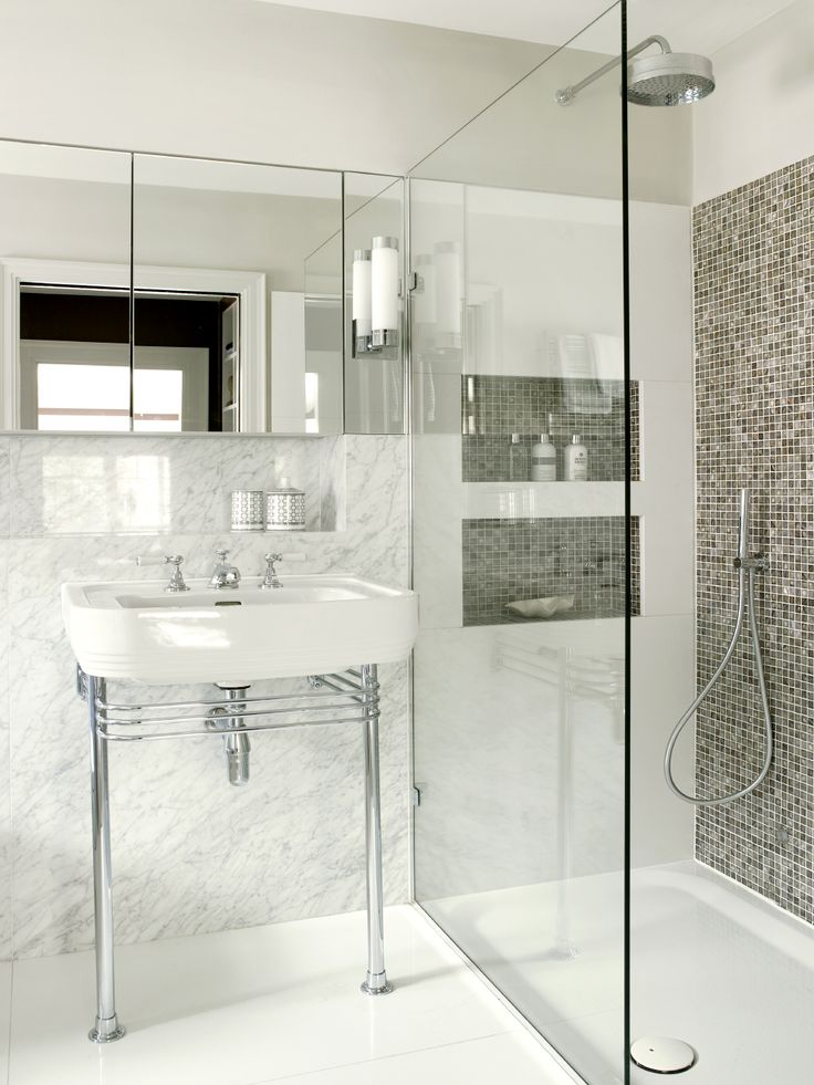 marble bathroom with mother of pearl mosaic tiles