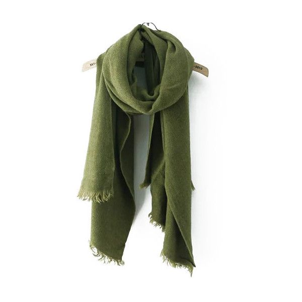 Frayed Army Green Scarf ($11) ❤ liked on Polyvore featuring accessories, scarves, green, green shawl and green scarves