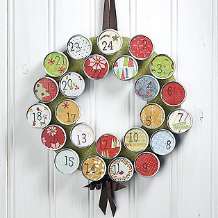 idea from picture-metallic wreath, containers with whatever, done as party favors for holidays!