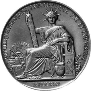 Great Seal of France (1848). The headdress of the Republic is identical to the Statue of Liberty. Both are prominent republican symbols.