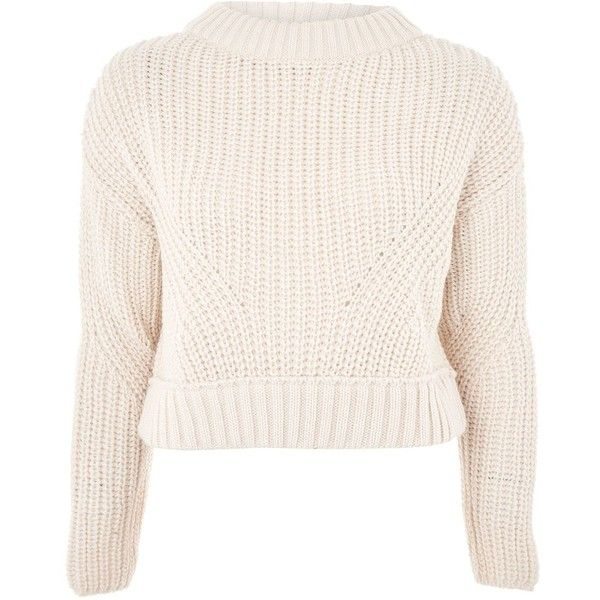 Topshop Boxy Cropped Jumper ($46) ❤ liked on Polyvore featuring tops, sweaters, oatmeal, pink cropped sweater, pink crop top, boxy top, boxy cropped sweater and oatmeal sweater