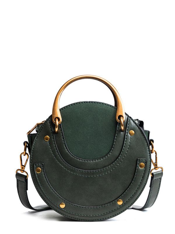 83516b2dc5 PU Round Bag With Metal Handle -SheIn(Sheinside) *Chloe Pixie Dupe ...