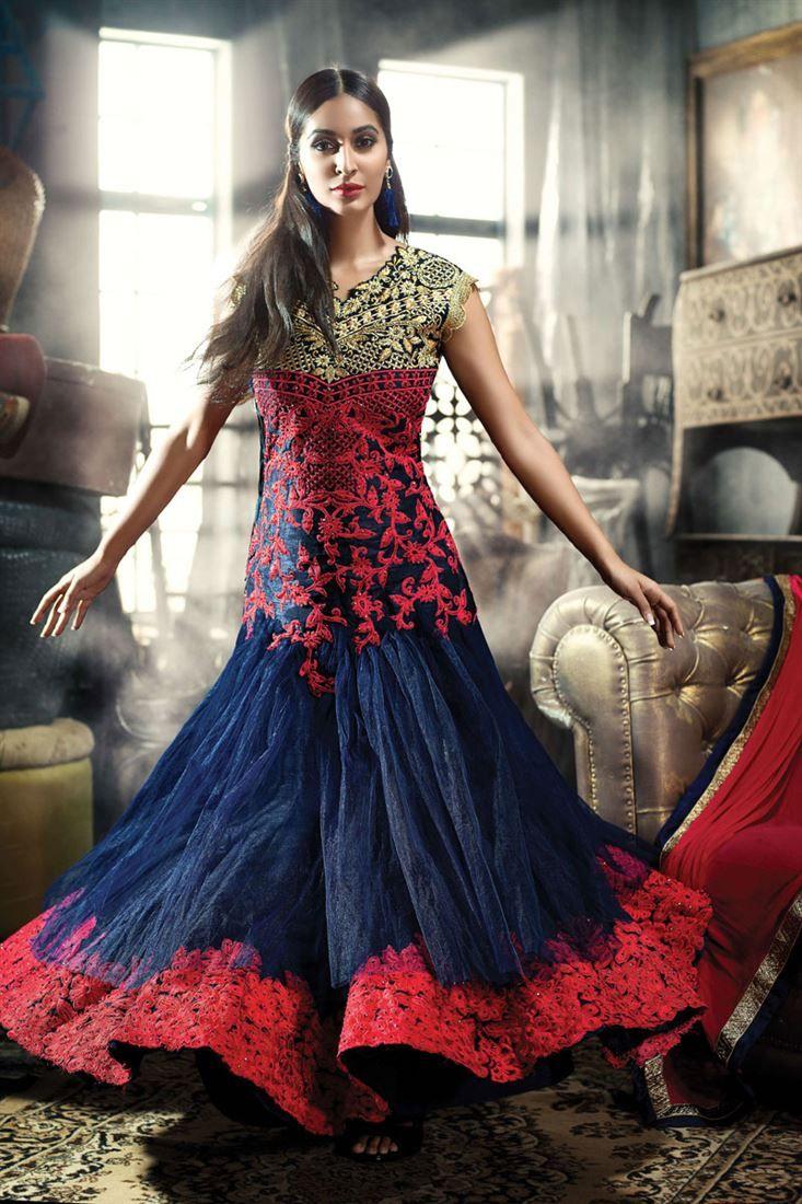 Navy Blue Net Designer #Salwar Kameez. Use Promo Code VD25 and Get 25% #Discount. Shop Now @ http://www.sanwaree.com/Buy/SALWARS/Designer-Salwar-Kameez/Navy-Blue-Net-Designer-Salwar-Kameez-9031-23047