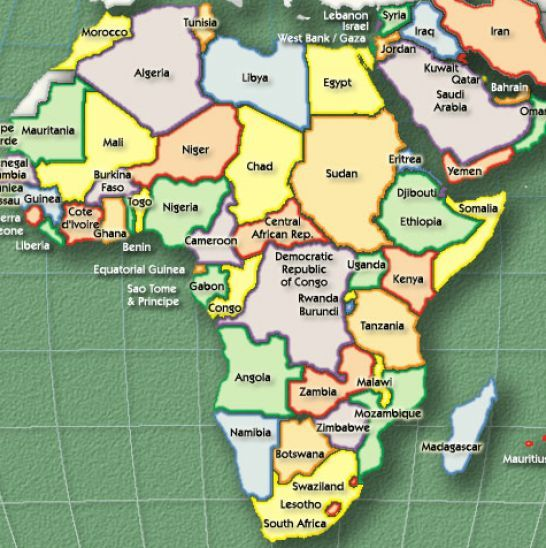 map of africa with countries labeled africa map country
