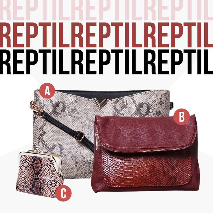 Reptilian textures! Este invierno las texturas de reptil son tendencia e invaden los accesorios. Agregá un toque elegante y vanguardista a tu look. Cuál es tu favorito?