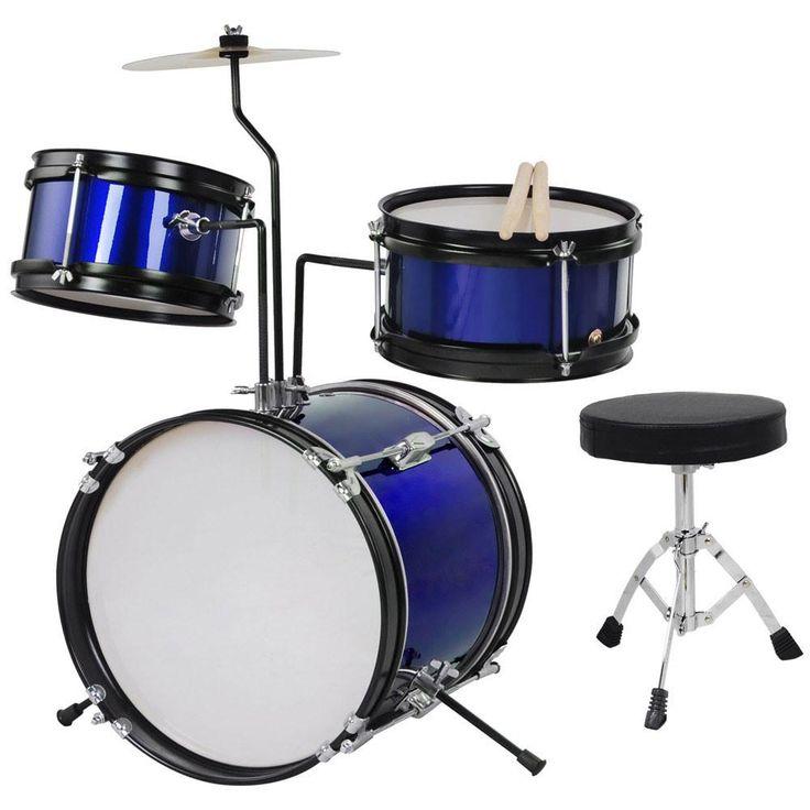 3pcs 8inch Junior Kids Drum Set Blue w/ Cymbal Drum Throne