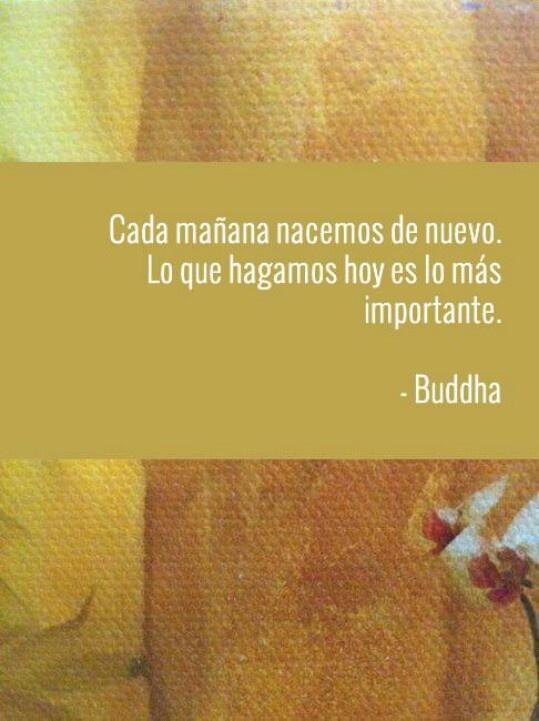 Buddha cada mañana nacemos de nuevo. Lo que hagamos hoy es lo mas importante. -Budda.