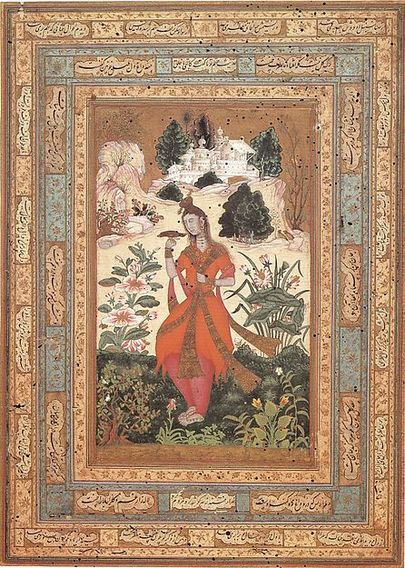 Yogini in a Deccan Landscape. early 17th century. Islamic. Ink, Opaque watercolor and gold on paper.