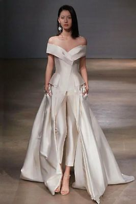 Details about V Neck White Evening Dresses Gowns Long Train Prom Pageant 2018 Custom Pants New 13