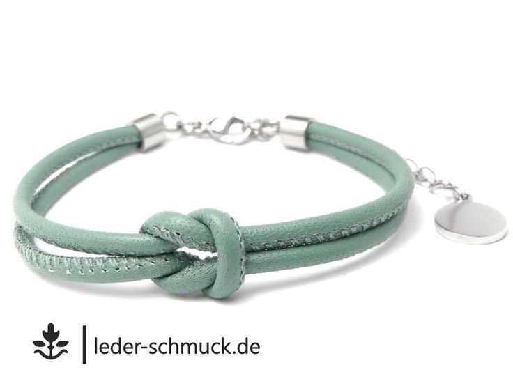 Lederarmbänder - Lederarmband Damen   SILBER salbei -GRATIS! Gravur - ein Designerstück von LEDER-Schmuck bei DaWanda