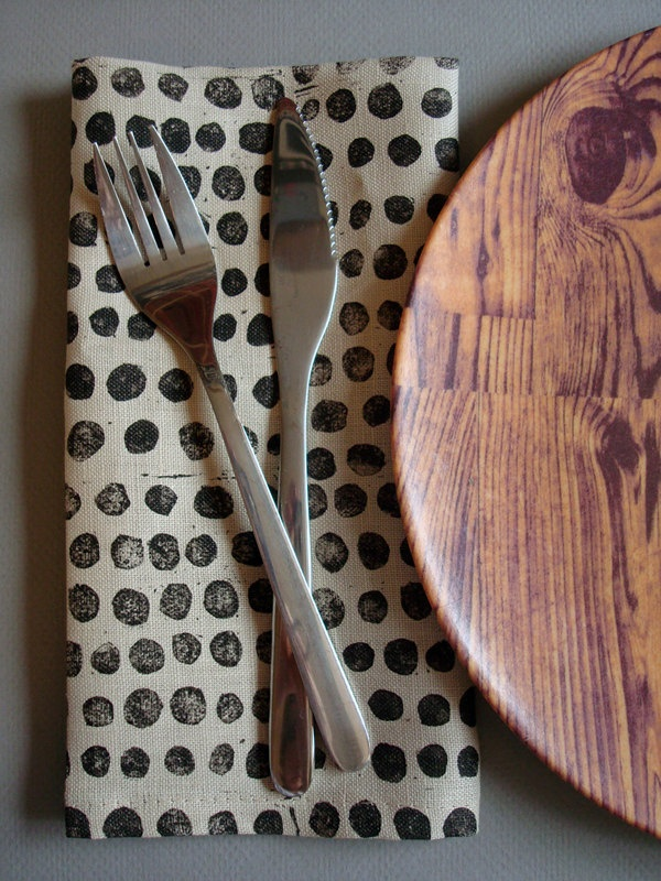 block printed linen napkins. set of four. black pebbles on oatmeal. via Etsy.