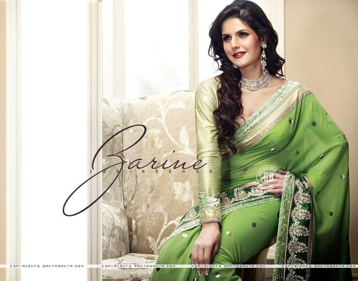 Image of Zarine Khan in Green Saree