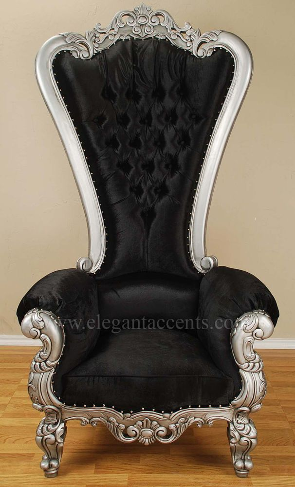 Carved Mahogany Louis XV Beregere Armchair Regal Throne Chair Silver Black Velvt #Gothic