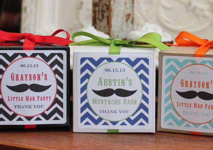 12 Mustache Party Favor Boxes - ANY COLOR - little man party favors, mustache party favors, mustache baby shower favors. $18.00, via Etsy.