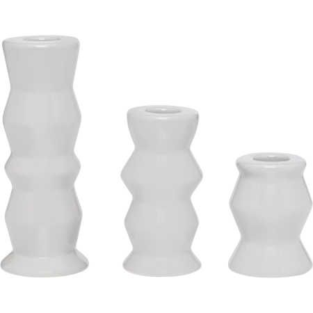 A modern take on a classic candle holder, this Set of 3 Candle Holders by House & Home is designed in ceramic to varying sizes and are finished with a lightly hued glaze